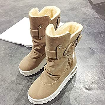 Lannmart Fashion Platform Women Winter Snow Boots Suede Thicken Warm Plush Botines Mujer 2018 Slip On