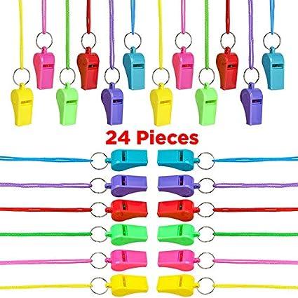 Amazon.com: 24 silbatos de neón para niños, ideal para ...