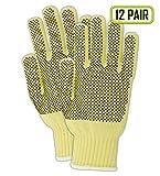 Magid Glove & Safety 93CBKV-PR-RB Magid Cut Master 93BKEVPRRB Medium Weight Kevlar Blend Dotted Knit Gloves - Cut Level 2, 9, Yellow, Ladies (Fits Medium) (Pack of 12)