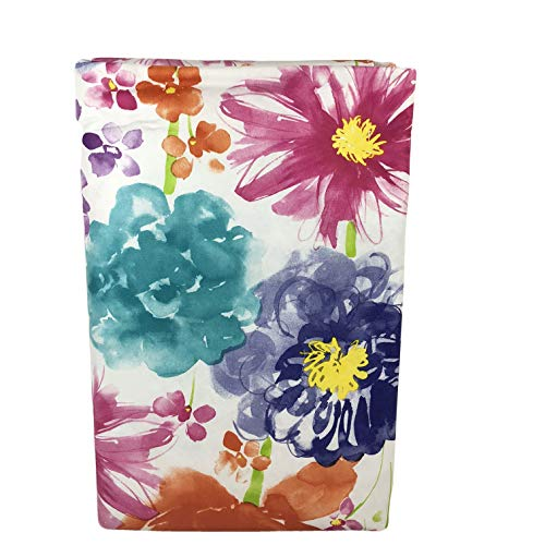 Elren Floral Watercolor Bursts Vinyl Tablecloth with Zippered Umbrella Hole (60
