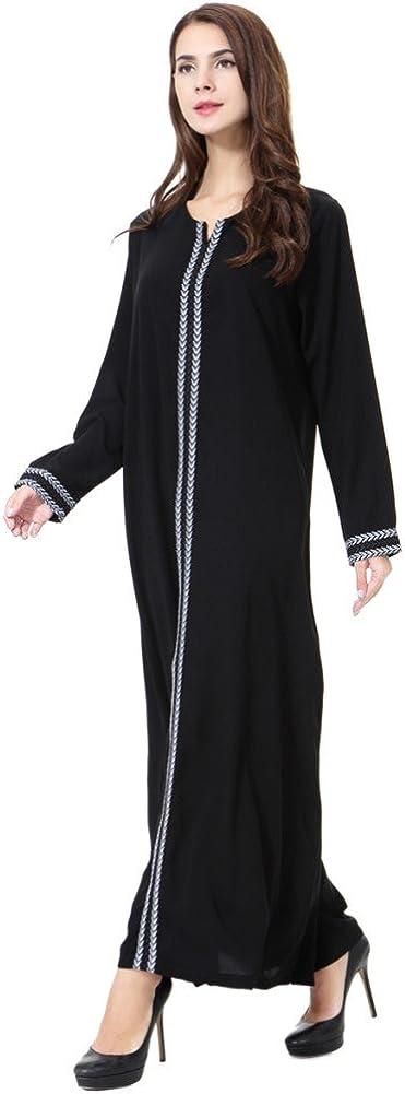YEESAM Muslim Maxi Dress for Women Loose Thobe Dubai Elegant Kaftan Abaya Tunic