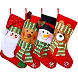 Jetec 4 Pieces Christmas Holiday Stockings Snowman Santa Beer Reindeer Christmas Stockings Gift and Treat Bag for Favors and Decorating Ornaments