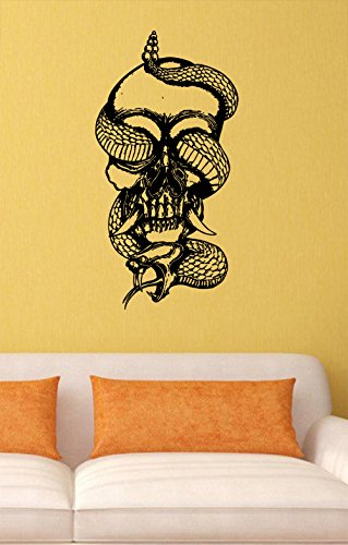 Skull Vinyl Wall Decals Snake Halloween Horror Decal Sticker Vinyl Murals Decors - Wall Decals Snake