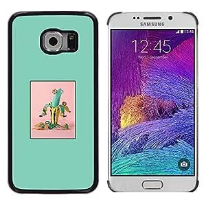 TopCaseStore / la caja del caucho duro de la cubierta de protección de la piel - Banana Green Fruit Minimalist - Samsung Galaxy S6 EDGE SM-G925