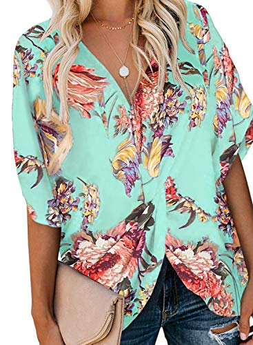 Sousuoty Batwing Sleeve Tops for Women Loose Fitting Bohemian Blouse Light Green 2XL
