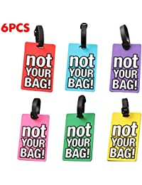 6 Pack Luggage Tags Bright Colors Business Card Holder Suitcase Tags (NOT YOUR BAG) by OVOV