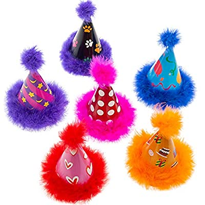 SCENEREAL Dog Party Hat 6 Packs - Cute Cone Hats Set for Dogs Birthday Parties Soft Plush Colorful Caps Perfect Doggie Party Supplies