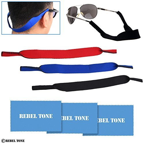 Sunglass Straps and Cleaning Cloths - 3+3 Pack - Universal Fit Neck / Head Retainer Straps - Safe and Secure for Glasses and Sunglasses - Neoprene (Black, Blue, Red) - Rebel Tone Cleaning Cloths