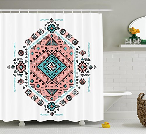 Tribal Decor Shower Curtain by Ambesonne, Mexican Native American Ethnic Symmetrical Four Corner Art Pattern, Fabric Bathroom Decor Set with Hooks, 75 Inches Long, Teal and Coral Pink (Pattern Pink Teal)
