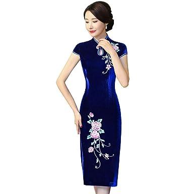 Xinvivion Cheongsam de Terciopelo Dorado para Mujer - Seda Floral ...
