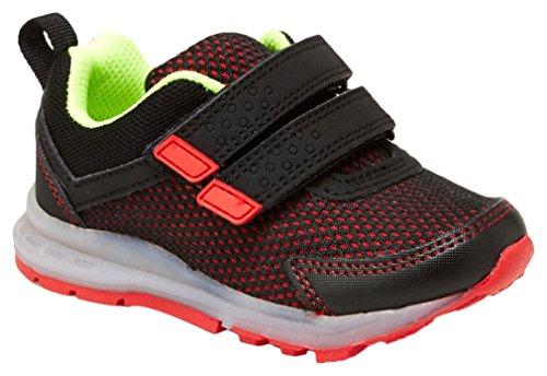 Carter's Boys' Kids' Record Girl's Light-up Athletic Sneaker, Black/Red, 9 M US (Toddler Athletic Shoe)