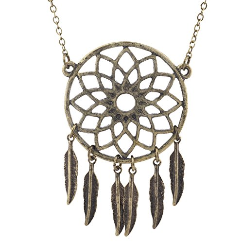 Lux Accessories Burnished Gold Tone Casted Dream Catcher Feather Leaf Necklace ()