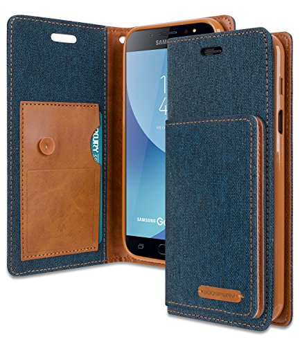 Galaxy C8 / J7 Plus / C7 2017 Wallet Case with Free 5 Gifts, [Shockproof] GOOSPERY Canvas Flip [Ver. Kraken] ID Card/Cash Slot with Kickstand Folio Cover for Samsung GalaxyC8 - Navy, C8-CANF/GF-NVY