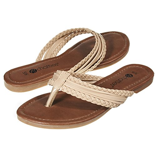 Sara Z Womens Triple Braided Flip Flop Thong Sandal Size 9/10 Tan