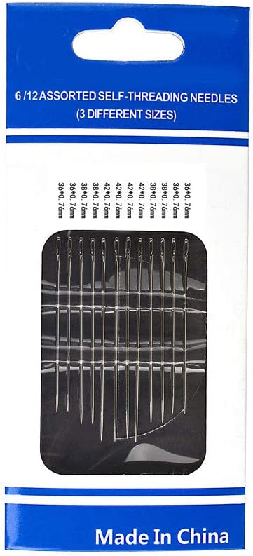 12 Pcs//Set Self Threading Hand Needles,Stainless Steel Hand Sewing Needles Easy-Threading Side Opening Sewing Needles Hand Darning Stitching Pins for Poor eyesight People. 1 Set
