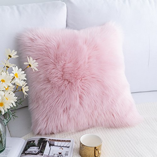 Plush Faux Fur Square Decorative Throw Pillow Cover Cushion Case New Luxury Series Merino Style for Livingroom Couch Sofa Nursery Bed Home Decor 18x18 Inch (45x45cm) Pink ()