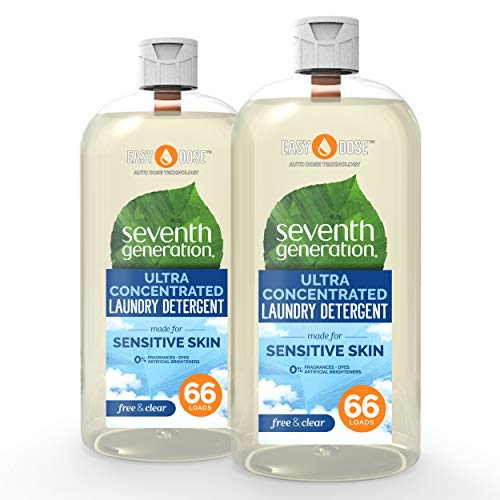 Seventh Generation Laundry Detergent, Ultra Concentrated EasyDose, Free & Clear, 23 oz, 2 Pack (132 Loads)