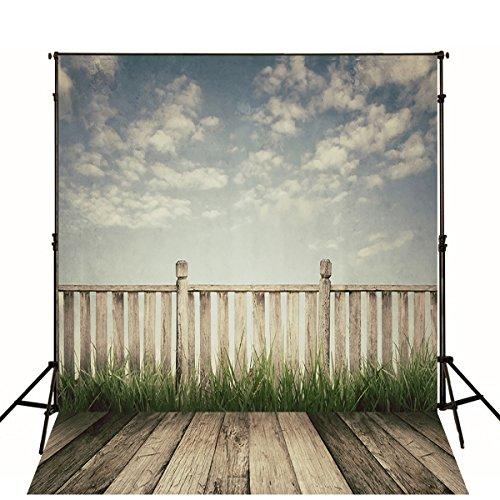 5x7 Photo Backdrop Outdoor Grey Sky White Fence with Dark Wood Floor Photo Background Kids Studio Baby Props...]()