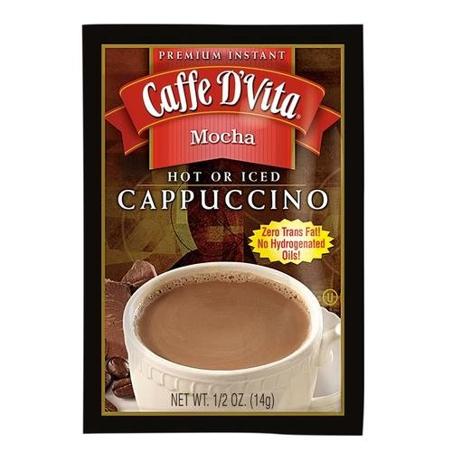 Caffe D'Vita Premium Instant Cappucino, Mocha,(14 g)  24 Single Serve Envelopes