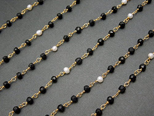 10 Feet Natural Black Spinel/Pearl Faceted/Cabochon 3-3.5 mm Rondelle 24k Gold Plated Rosary Chain