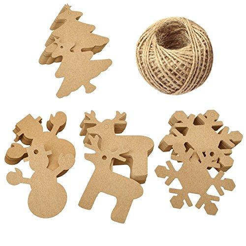 100 Pcs Christmas Gift Tags Xmas Tree Snowflake Deer Snowman Kraft Paper Tags with 100 Feet Jute Twine