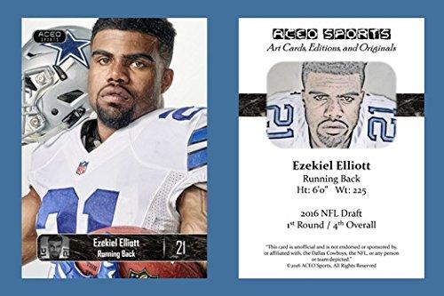 Ezekiel Elliott 2016 ACEO Sports Art Style Football Card - Dallas Cowboys Rookie RC