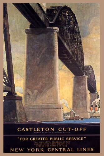 CASTLETON CUT-OFF RAILROAD BRIDGE NEW YORK CENTRAL LINES VINTAGE POSTER REPRO Collectible New York Central Railroad
