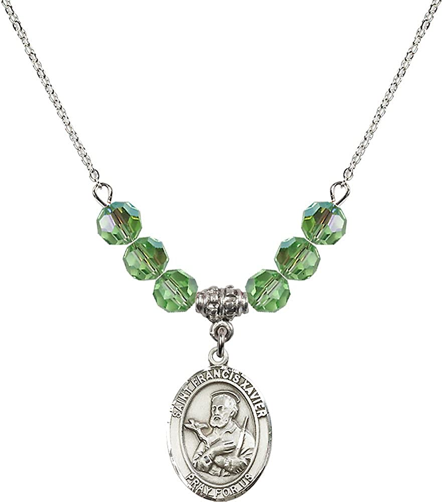 18-Inch Rhodium Plated Necklace with 6mm Peridot Birthstone Beads and Sterling Silver Saint Francis Xavier Charm.
