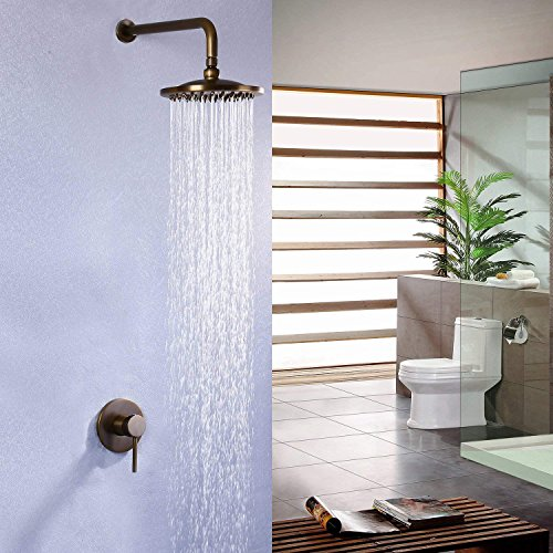 JinYuZe 8 Inch Waterfall Shower Head Set Solid Brass Wall Mounted Concealed Rain Shower System,Antique Brass (Valve & Trims - Concealed Ceramic Disk