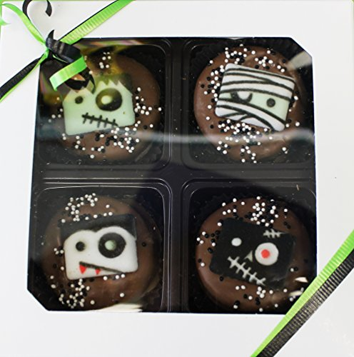 Chocolate Dipped Oreo Monster Cookies for Halloween 4 Piece Gift Box (Monster Halloween Cookies)
