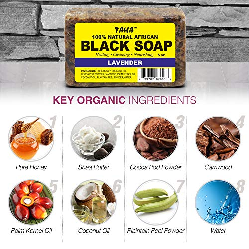 98228b6a Amazon.com : TAHA 100% Natural African Black Soap - Lavender - 5 oz Pack of  4 - Raw Organic Soap for Blemishes, Acne, Dry Scalp - Rich in Vitamins ...
