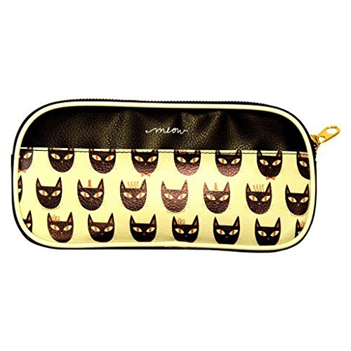 Mead Glam Metal Faux Leather Metallic Gold Zippered Pencil Pouch - Cat Face Meow-ers