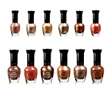 Kleancolor Assorted Nail Polish 6pc Set Selection (Pastel, Metallic, Blue, Pink, Neon, And Purple) (BROWN, 12 PIECES)