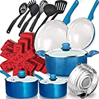 Cookware Pots and Pans Set 16 Piece Red Grip Healthy Ceramic Nonstick
