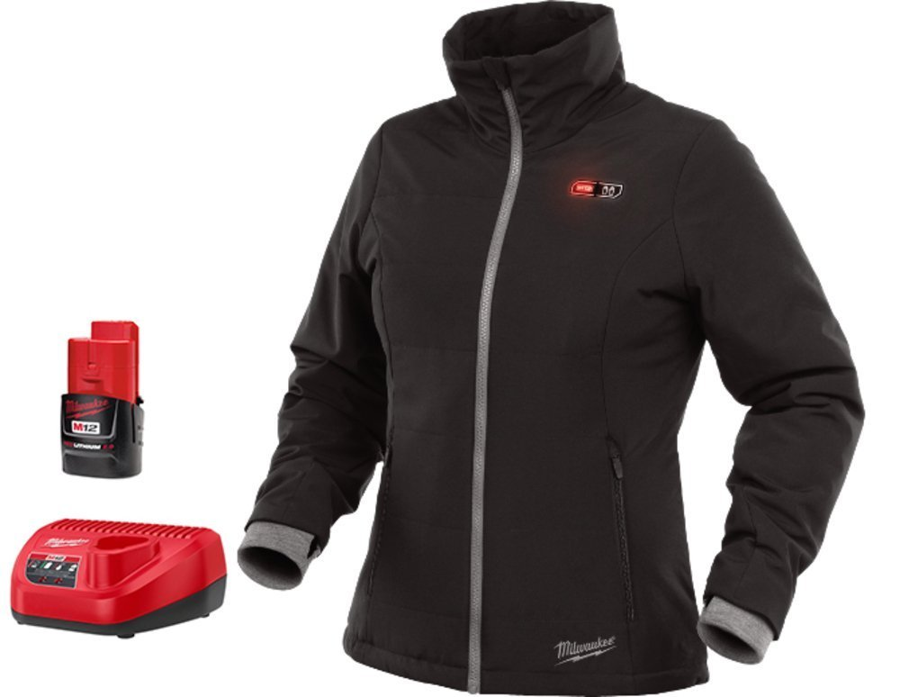 Milwaukee Jacket KIT M12 12V Lithium-Ion Heated Front and Back Heat Zones All Sizes and Colors - Battery and Charger Included (Medium, Women-Black) by Milwaukee