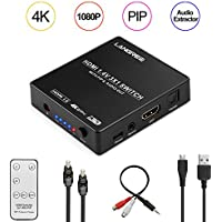 LANGREE 3 In 1 Out HDMI Switch, Support 4K 1080P 3D, with PIP and Audio Extractor Converter Analog Optical Toslink Output, include IR Wireless Remote Control, Optical Cable and 3.5mm Audio Video Cable