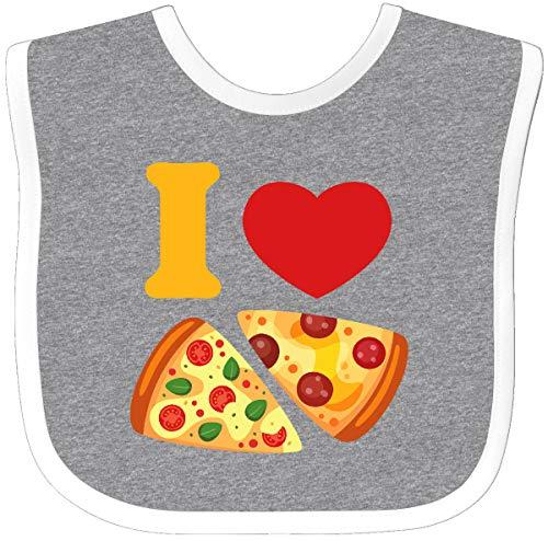 Inktastic I Love Pizza Baby Bib Heather/White