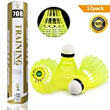 Yokunat 12Pcs Badminton Shuttlecocks Durable Nylon Training Plastic Badminton Great Stability Durability Indoor Outdoor Sports(Yellow)