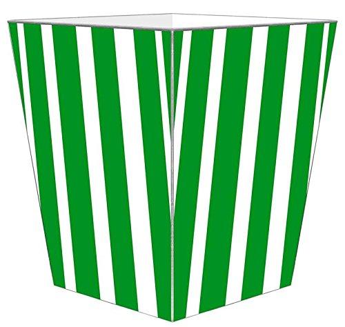 WB8418 - Green Stripe with Navy Monogram Wastepaper Basket