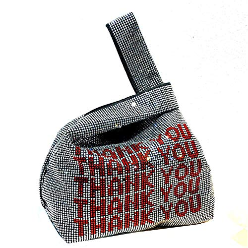 (EVBAG Evening Bag Clutch Rhinestone Wrist Bag Bling Vest Bag Thank You Handbag for Ladies Party)