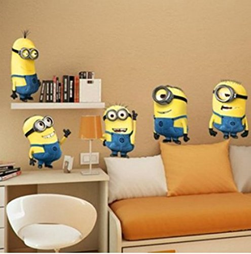 Techmac Minions Wall Stickers, Peel and Stick, Cute Cartoon Wall Stickers (Minion Stickers)