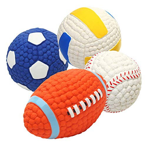 EETOYS Soft Latex Squeaky Dog Chew Toy with Squeaker Floating Bouncing Ball for Interactive Training Fetch and Play (Small, Volleyball, Baseball, Rugby Football, Soccer Bundle)