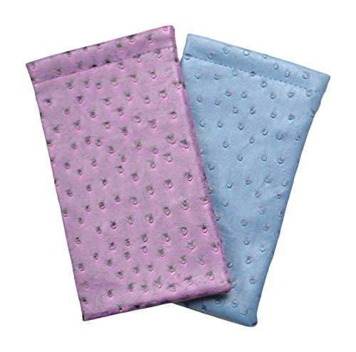Slip Faux Ostrich (2 Pack Soft Squeeze Top Slip In Eyeglasses Case And Holder In Faux Ostrich Leather, Blue/Purple)