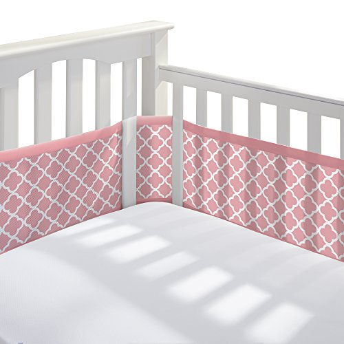 BreathableBaby-Mesh-Printed-Crib-Liner-Coral-Clover