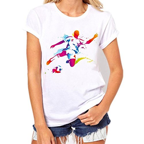 Challyhope Women Tees, Hot Sale! Fashion Football Fans Tops Soccer Print Short Sleeve T Shirt (M, White)