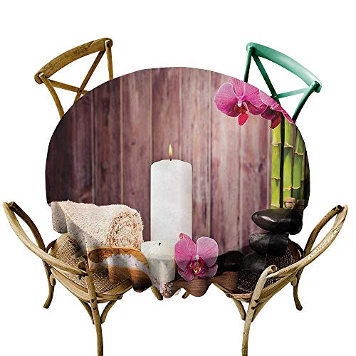 Jbgzzm Polyester Tablecloth Spa Decor Collection Spa Candlelight Plants Wooden Wall Sea Salt Treatment Freshness Relaxing Photography Party D67 Pink Green Ivory