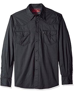 Men's Modern Fit Long Sleeve Snap Two Flap Pocket Print Shirt