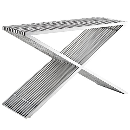 - Modway Press Contemporary Modern Stainless Steel Console Table In Silver