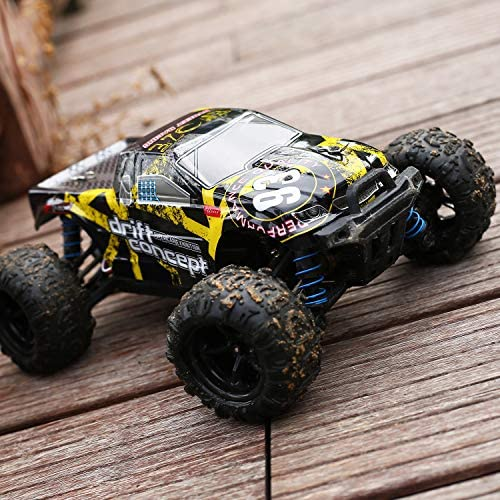 DEERC Brushless RC Cars 300E 60KM/H High Speed Remote Control Car 4 wheel drive 1:18 Scale Monster Truck for Kids Adults, All Terrain Off Road Truck with Extra Shell 2 Battery,40+ Min Play Car Gifts for Boys