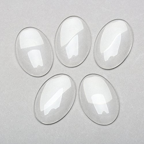 Flat Back Oval Glass - Dophee 10Pcs Transparent Clear Oval Glass Cabochon Dome Flat Back Crystal Embellishments Jewellery Making,30x20mm